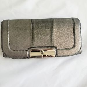 Coach Wallet Silver Leather
